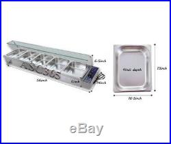5 Trays Electric Bain Marie Countertop Food Warmer Steam Table 1500W Full Size