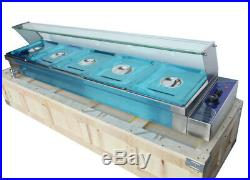 5 Well Bain Marie Food Warmer Steam Table Restaurant Heater Countertop 1/2 pan
