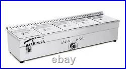 56inch 5-pan LP Gas Bain-marie Buffet Food Warmer Steam Table Techtongda