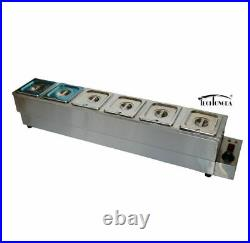 6-1/6 Pan Bain-Marie Buffet Food Warmer 6'' Deep 110V Soup Heater Stove