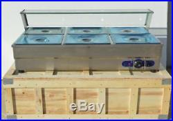 6 Pan Bain-Marie Buffet Food Warmer Steam Table 110V Bath Warmer Steam Table