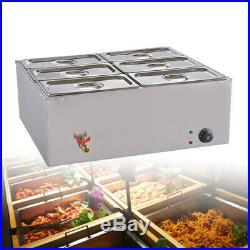 6-Pan Food Warmer Bain-Marie Buffet Countertop Steam Table 2-year warranty 110V