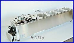 6 Pans Food Warmer Steam Table Bain Marie Soup Warmer 1/6 Size Buffet Deep Well