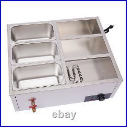 850W 6-Pan Steamer Bain-Marie Buffet Countertop Food Warmer Table Steam 110V