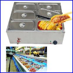 850W 6-Pan Steamer Bain-Marie Buffet Countertop Food Warmer Table Steam 110V USA