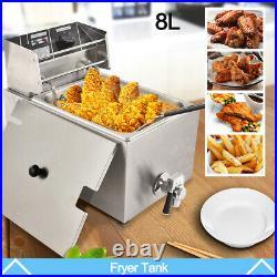 8L Electric Deep Fryer Tank Commercial Countertop Fry Basket Restaurant 1800W