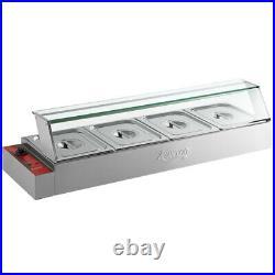 Avantco BMFW4 46 Electric Bain Marie Buffet Countertop Food Warmer with 4 Half