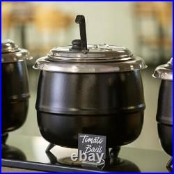 Avantco S600 14 Qt. Round Countertop Black Food Soup Kettle Warmer 110V