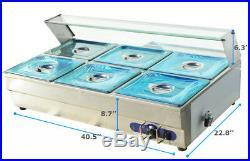 Brand 6 Pan 110V Bain-Marie Buffet Food Warmer Steam Table Bath Warmer Table US