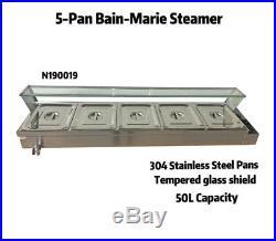 Brand New 5-Pan Bain-Marie Buffet Steamer Countertop Food Warmer Steam Table US