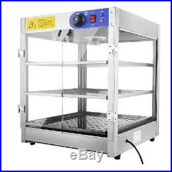Commercial 24x20x20 3-Tier Countertop Food Pizza Pastry Warmer Display Case 750