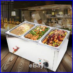 Commercial 3-Pan Bain Marie Buffet Steamer Countertop Food Warmer Steam Table US