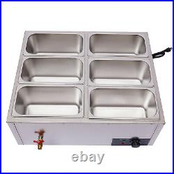Commercial Food Warmer 6-Pan Steamer Stainless Buffet Electric Countertop 110V