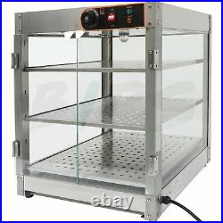 Commercial Food Warmer Countertop Pizza Pastry Warmer Display Case 3-Tier Class