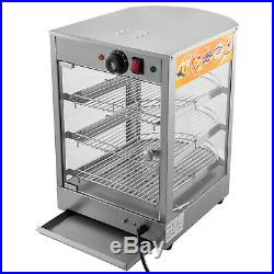Commercial Food Warmer Court Heat Food Pizza Display Warmer Cabinet 26Glass SUS