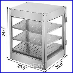 Commercial Food Warmer Pizza Warmer 24 in Pastry Warmer with Magnetic Doors 3 Tier