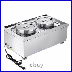 Dual 7L Pots Commercial Food Warmer Countertop Soup Buffet Fast Food Steam Table
