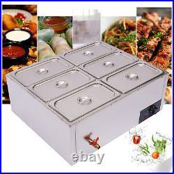 Durable Steel 6-Pan Steamer Countertop Food Warmers Adjustable Temperature 850W