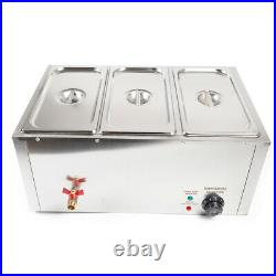 Electric Bain Marie Buffet Steamer 3-Pot Countertop Food Warmer Steam Table US