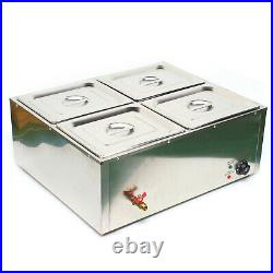 Electric Bain Marie Commercial Food Warmer Buffet Steam Table Steamer Countertop