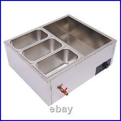 Electric Commercial Food Warmer 6-Pan Steamer Countertop Stainless Steel Buffet