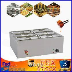 Electric Food Warmer 6-Pan Steam Table Steamer Bain-Marie Buffet Countertop 110V