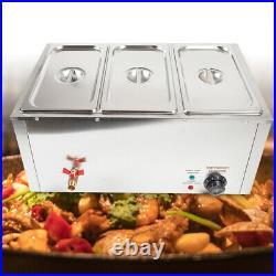 Electric Food Warmer Bain Marie Buffet Steamer 3-Pot 3-Lid Countertop 850W 37L