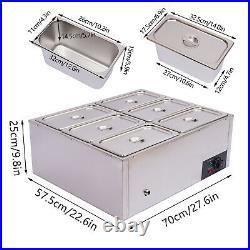 Electric Food Warmer Steam Table Steamer Bain-Marie Buffet Countertop 6-Pan Sale