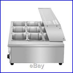 Food Warmer Bain Marie Food Steamer 3-12pans Steam Table Buffet Countertop 1500W