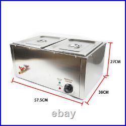Food Warmer Bain Marie Steam Table Steamer Wet Heat 2-Pan Heavy Gauge Pans 850W