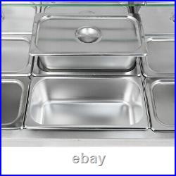 Food Warmer Steam Table 110V 1700W 12-Pan Steamer Bain-Marie Buffet Countertop