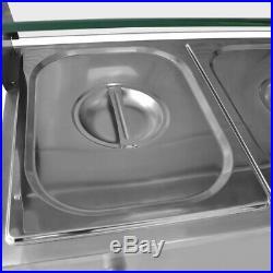 Food Warmer Steam Table Buffet Countertop 30L NEW 5-Pan Steamer Bain-Marie 110V