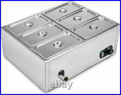 Food Warmer Steam Table Commercial 6-Pot Stainless Steel 110V Sliver Electric
