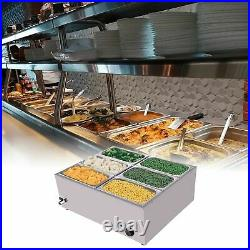 Food Warmer Steam Table Commercial Grade Stainless Steel 6-Pan Sliver Includes
