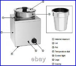 Hakka 6.5L Commercial Countertop Food Warmer Buffet Soup Pot Bain Marie
