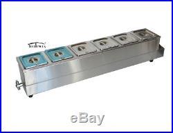 High Quality 6'' deep pan Bain Marie Food Warmer Steam Table Soup Warmer 1/6Pans