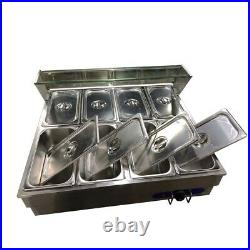 INTBUYING 8-Well Food Warmer Steam Table Countertop 110V 1500W 1/3 Pans&Lids