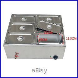 NEW 110V 850W 6-Pan Steamer Bain-Marie Buffet Countertop Food Warmer Steam Table