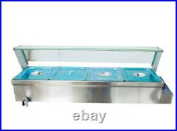 NEW 110V1500W 4-Pan Steamer Bain-Marie Buffet Countertop Food Warmer Steam Table