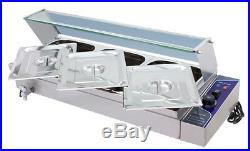 NEW! 3 Pot Hot Well Bain Marie Food Warmer With Glass Sneeze 110V Steam Table