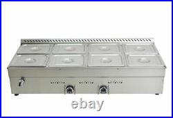 Propane Gas Food Warmer Countertop Steam Tabl 8 1/2GN Pans 3/8'' Fitting