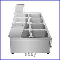 Restaurant 10-Pan Food Warmer 110V Bain-Marie Buffet Steam Table Large Capacity