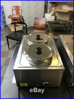 Soup Warmer 2-Pan Steamer Bain-Marie Countertop Food Warmer Steam Table