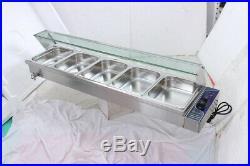 Steam Warmer 5-Pan Steamer Bain-Marie Buffet Countertop Food Table 110v Showcase