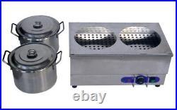 TECHTONGDA 110V 2 Round Pan Countertop Soup & Food Warmer Steam Table