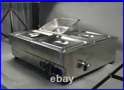 TECHTONGDA 4-Well Counter Top Food Warmer Bain-Marie Buffet STEAM TABLE 110V NEW