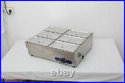 Techtongda 6-Pan Food Warmer Countertop Steam Table 110V1500W Kitchen Supply US