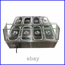 Techtongda 8-Pan Food Warmer Steam Table Countertop Kitchen Supply 110V 1500W US