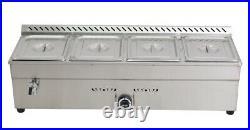 Top-Grade US Stock SS 4-Pan LP GAS Bain-Marie Buffet Steam Table Food Warmer