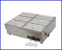 US 6-Pan Counter Top Warmer Bain-Marie Buffet STEAM TABLE FOOD WARMER 110V 1500W